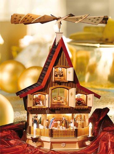 Classic Teak Christmas Tealight Pyramid Advent House, 30.8 Inches