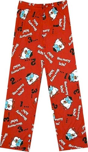 These lounge pants feature an all-over print of the Tootsie Roll Owl and read 'How Many Licks?' on a red background.
