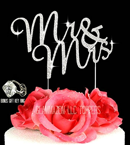 Glammazing LLC Mr & Mrs Silver Wedding Cake Topper ornament in Crystal Rhinestones Script Font Wedding Decoration Rustic Wedding Cake Topper Bonus Gift Bling Key Chain