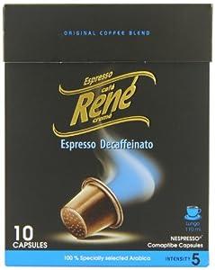 Cafe Rene Espresso Decaffeinato Nespresso Compatible Capsules (Pack of 4, Total 40 Capsules)