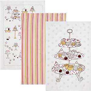Now Designs Set of Three Tea towels, Cakes