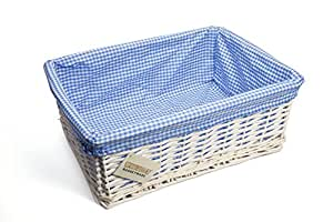 WoodLuv Large Wicker Storage Basket with Blue Gingham Lining, White