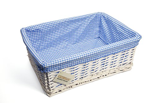 Woodluv panier en osier et tissu bleu gingham-grand modèle-blanc