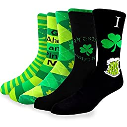 TeeHee Pinch Me St. Patricks Day Cotton Crew 5pairs Socks, Size 10-13