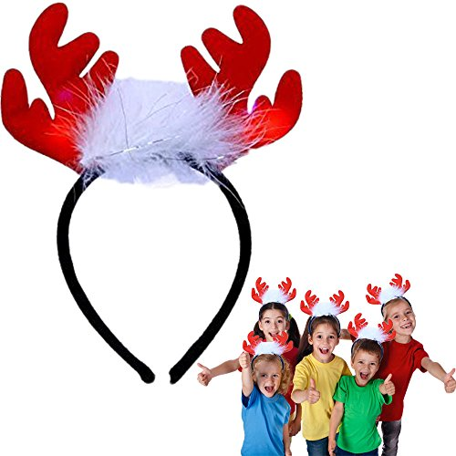 Dazzling Toys Holiday LED Light-up Plush Antlers - Dress UP Party Favor