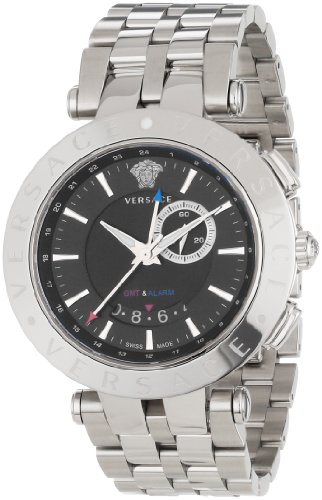 Versace Men's 29G99D009 S099 V-Race Round Stainless Steel GMT Alarm Date Watch
