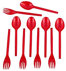 Red Forks & Spoon - Pack of 50 (25 + 25)