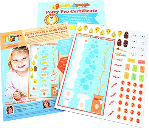 DeeDee & Dooley's Potty Progress Game/Chart In One: Static Cling Daily Potty Training Aid + BONUS Keepsake Certificate