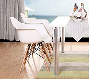 VECELO Eames Style Chair Natural Wood Legs Eiffel Dining Chair, Set of 2 Armchair by VECELO