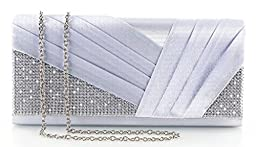 Yuenjoy Womens Shiny Crystal Rhinestone Pleated Satin Evening Clutch Bags (Silver)