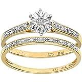 Ensemble Bague de fiançailles et alliance Femme - PR08633Y-N -  Or Jaune 375/1000 (9 Cts) 1.7 Gr - Diamant