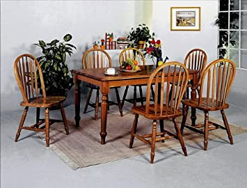 7PC Oak Dining Table and Chairs Set