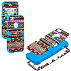 myLife Sky Blue - Colorful Tribal Print Series (Neo Hypergrip Flex Gel) 3 Piece Case for iPhone 5/5S (5G) 5th Generation Smartphone by Apple (External 2 Piece Fitted On Hard Rubberized Plates + Internal Soft Silicone Easy Grip Bumper Gel)
