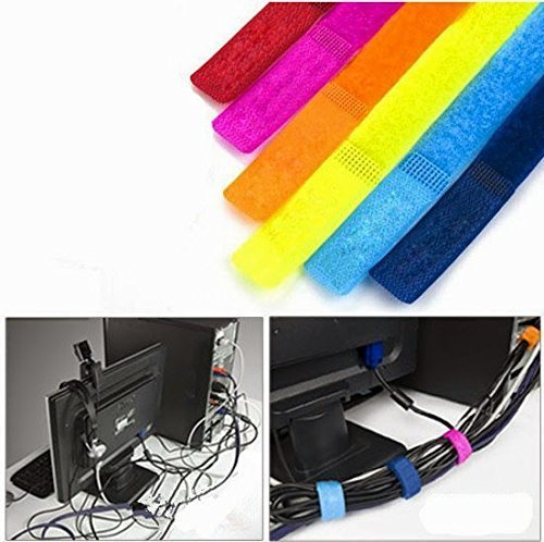 HOKIPO Colorful Cable Wire Ties Curtain Marker Straps Belts Holders (Set of 6),Multicolor