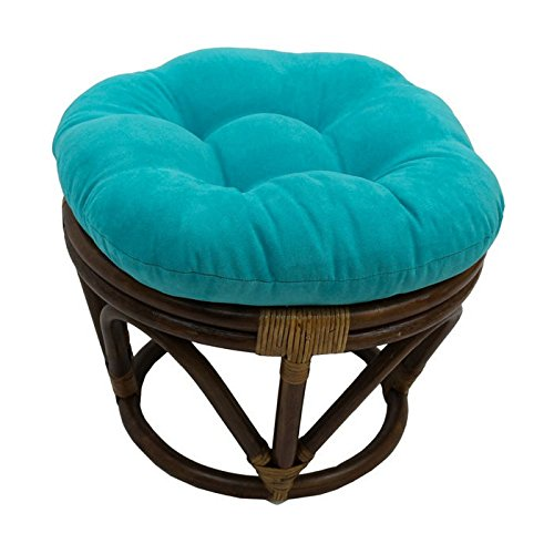 Rattan Papasan Footstool with Microsuede Cushion