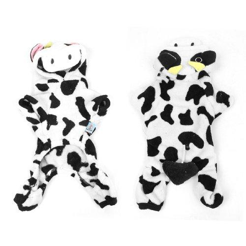 Winter White Black Cow Design Hooded Pet Puppy Plush Coat Costume Xl front-866754