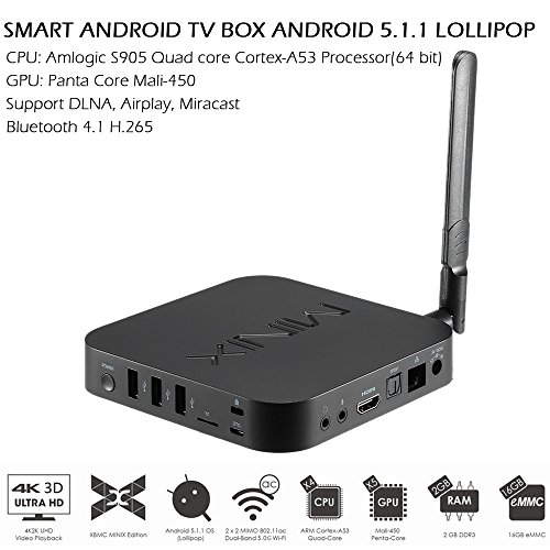 Docooler® Original MINIX NEO U1 Smart Android 5.1.1TV BOX Lollipop Amlogic S905 Quad-core 64bit 2G/16G XBMC UHD 4K 3D Mini PC 5.0G WiFi H.265 DLNA Airplay Miracast HD Media Player + A2 Lite Air Mouse