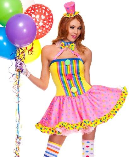 Womens Sexy Circus Halloween Clown Costume sz M/L 6-10