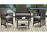Madrid 4 Piece Rattan Weatherproof Garden Patio Furniture Conservatory Sofa Cushion Chair Table Set Contemporary Outdoor Living Garden Conservatory Patio Summer Innovative Comfort