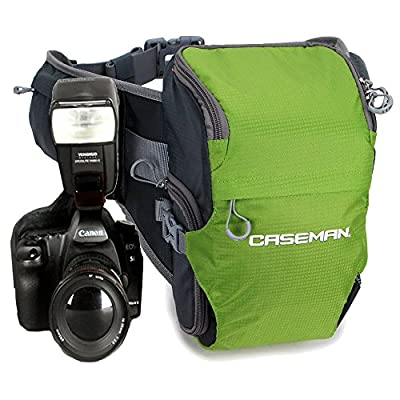 Caseman Aw02 Green Dslr Camera shoulder bag case Waist bag Sling Travel Waterproof fit for Canon Sony Nikon Pentax
