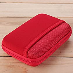Digital USB Storage Cable Travel Earphone Organizer Bag Case Insert Flash Drives (Red)