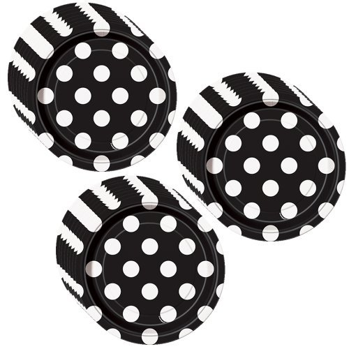 Black Polka Dot Party Cake/Dessert Plates - 24 Guests