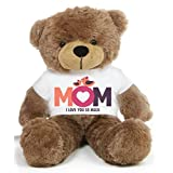Brown 2 feet Big Teddy Bear wearing a Mom I Love You So Much T-shirt