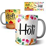 Chiraiyaa Happy Holi Festival Hindi Multicolor Ceramic Mug - 300ml (Multicolor)