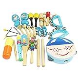 Happy cherry - (16 piezas) Juguetes de Instrumentos Musicales de Percusi�n madera Set Banda de m�sica Tambor Maracas Cascabeles regalo para beb�s ni�os ni�as - Azul