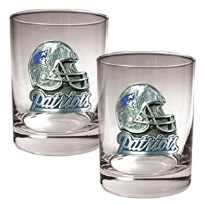NFL New England Patriots Two Piece Rocks Glass Set - Helmet Logo by Great American Products
