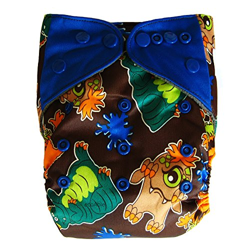 Aio All-In-One Charcoal Bamboo Cloth Diaper/ Sewn-In Insert One-Size 8-35 Lbs (9066)