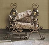 "Fireplace Accents - ""Villa Medici"" Andirons - Bronze Iron with Brass Medallions - Fire Place Andirons"
