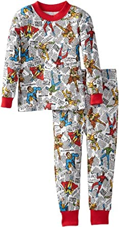 Sara's Prints Little Boys' Flame Resistant 2 Piece Pajama, Comic Book Heroes, 2