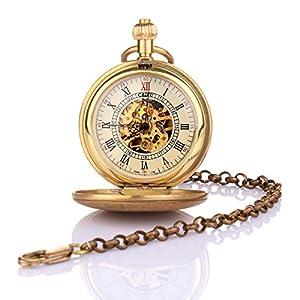 Yesurprise Antique Vintage Bronze Men Pocket Chain Hand Mechanical Pendant Clock Watch Gift #2