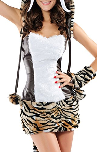 ZL-MDS Women's Cute Fasux Fur Cartoon Tiger Cosplay 4 Pieces Costume Suit