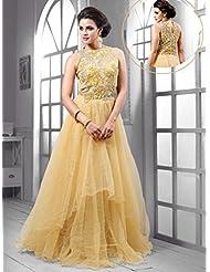 UFS Women's Light Yellow Soft Net Semi Stitched Anarkali Dress Salwar Suit Gown
