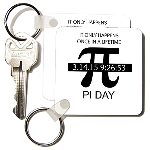 3dRose Pi Day Once in A Lifetime Key Chain, 2.25 X 2.25 Inches, Set of 2 (kc_202810_1)