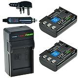 ChiliPower Canon NB-2LH, NB-2L, BP-2L5, BP-2LH 900mAh Battery 2-Pack + Charger (UK Plug) for Canon EOS 350D, 400D, Digital Rebel XT, XTi, PowerShot G7, G9 , S30, S40, S45, S50, S60, S70, S80, DC410, DC420, VIXIA HF R10, HF R100, HF R11, Kiss Digital N, C