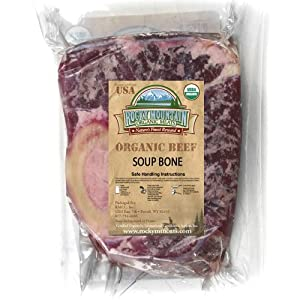 Organic Grass Fed Beef Soup Marrow Bone ONE (8 to 9oz. Package)