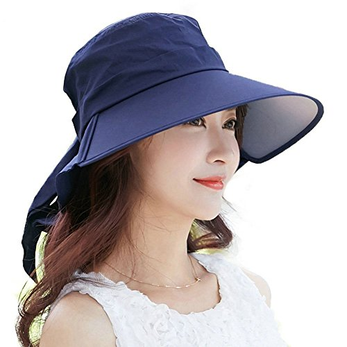 Siggi Summer Bill Neck Flap Hat UPF 50+ Cotton Sun Cap with Large Brim Shade for Women Navy (Uv Protection Hat compare prices)