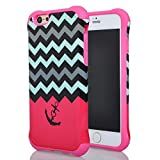 Iphone 6 Case, Meaci® Cell Phone Case for Iphone 6 (4.7 Inch) Case 2 in 1 Combo Hybrid Hard Pc & Rubber Case Dual Layer Bumper with Smooth Exquisite Wave Anchor Pattern Protective Case - Pink Rubber