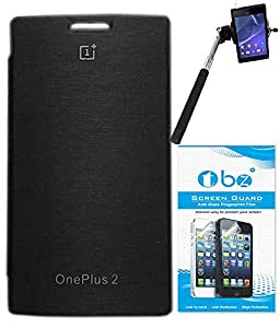 TBZ Flip Cover Case for OnePlus Two with Screen Guard and Selfie Stick Monopod with Aux -Black