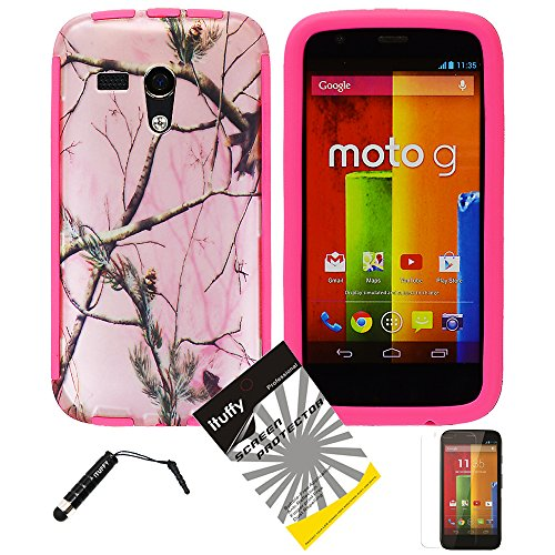 3 Items Combo: Ituffy (Tm) Lcd Screen Protector Film + Mini Stylus Pen + Design Wrap-Up Cover Faceplate Skin Phone Case For Motorola Moto G Xt1032 / Motorola Dvx Xt1035 (All Carriers) (Pink Tree Camouflage - Pink)