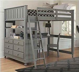 Amazon Com Full Loft Bed With Desk Stone Kitchen Amp Dining