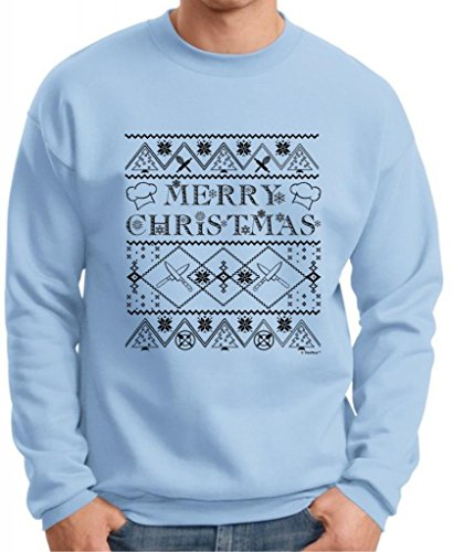 Ugly Christmas Sweater For Chefs Premium Crewneck Sweatshirt Xxx-Large Light Blue