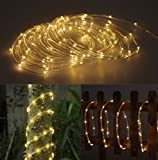 Solar Rope Tube 100 LED Starry String Garden Light 17 feet long total length (Warm white) - waterproof for Outdoor - Patio - Gardens - Homes - Christmas - Party - etc