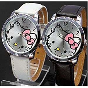 Hello Kitty Black & White Classic Watch with Free Pair of Red Heart Love Necklace from Y2B