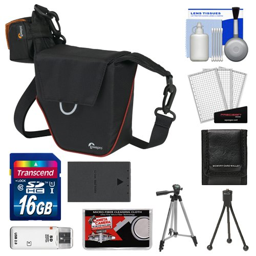 Lowepro Compact Ilc Courier 70 Interchangeable Lens Digital Camera Case (Black) With Bls-1/Bls-5 Battery + 16Gb Sd Card + Tripod + Accessory Kit For Olympus Pen E-P2, E-P3, E-Pl2, E-Pl3, E-Pl5, E-Pm1 E-Pm2 Digital Cameras