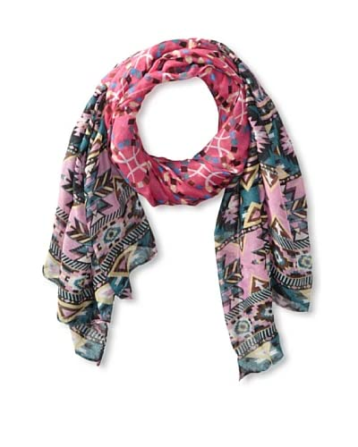 Jules Smith Women's Aztec Scarf, Pink/Teal