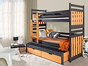 Bunk Bed SAMBOR, Children Triple Bunk Bed - Pine Wood - 24 Colours - 2 Sizes - 4 Types of Mattresses